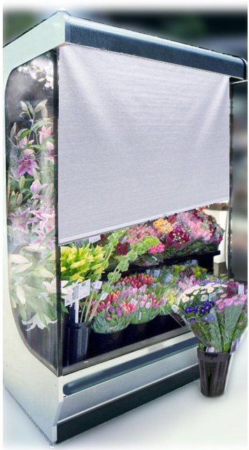 Image of flower merchandiser night cover application